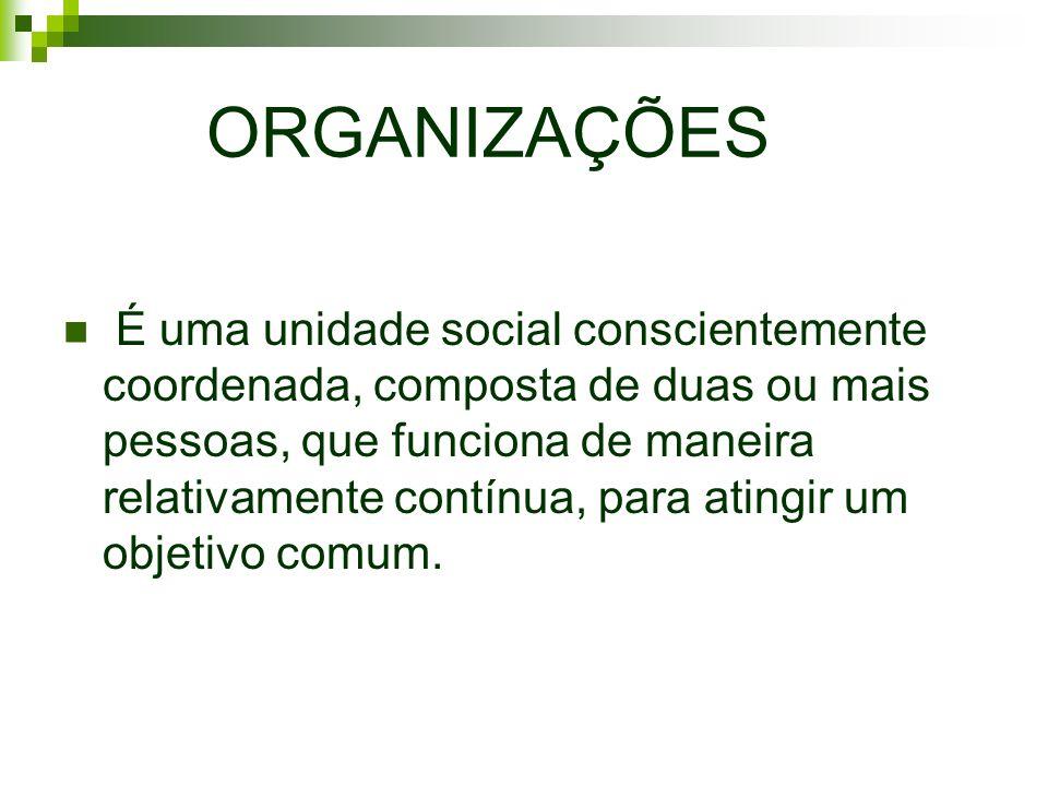 ORGANIZAÇÕES É uma unidade social conscientemente coordenada, composta de duas ou mais pessoas, que funciona de maneira relativamente contínua, para a
