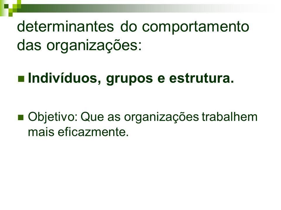 determinantes do comportamento das organizações: Indivíduos, grupos e estrutura. Objetivo: Que as organizações trabalhem mais eficazmente.