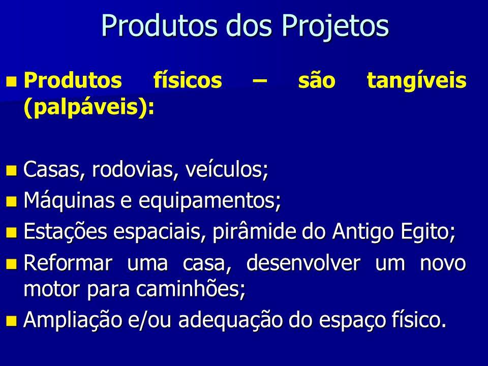 Produtos dos Projetos Produtos físicos – são tangíveis (palpáveis): Casas, rodovias, veículos; Casas, rodovias, veículos; Máquinas e equipamentos; Máq