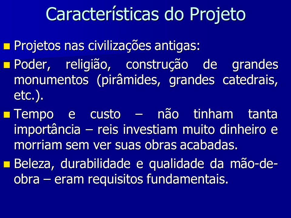 Características do Projeto Projetos nas civilizações antigas: Projetos nas civilizações antigas: Poder, religião, construção de grandes monumentos (pi
