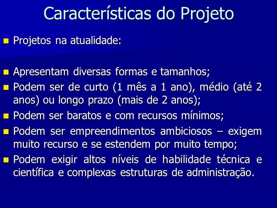 Características do Projeto Projetos na atualidade: Projetos na atualidade: Apresentam diversas formas e tamanhos; Apresentam diversas formas e tamanho