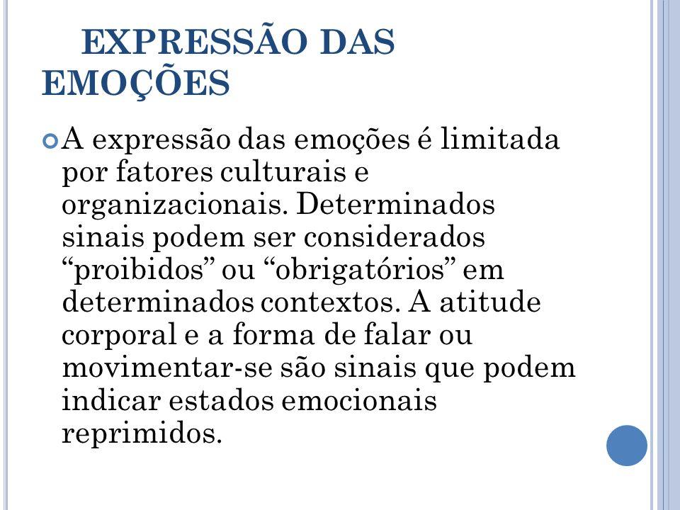 EXPRESSÃO DAS EMOÇÕES A expressão das emoções é limitada por fatores culturais e organizacionais. Determinados sinais podem ser considerados proibidos