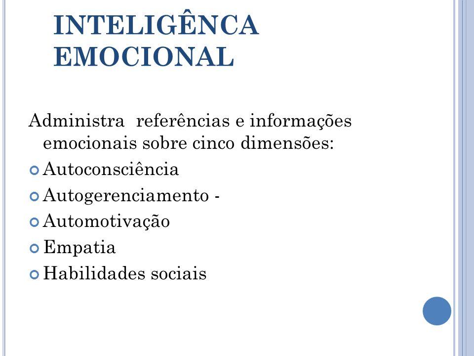 INTELIGÊNCA EMOCIONAL Administra referências e informações emocionais sobre cinco dimensões: Autoconsciência Autogerenciamento - Automotivação Empatia