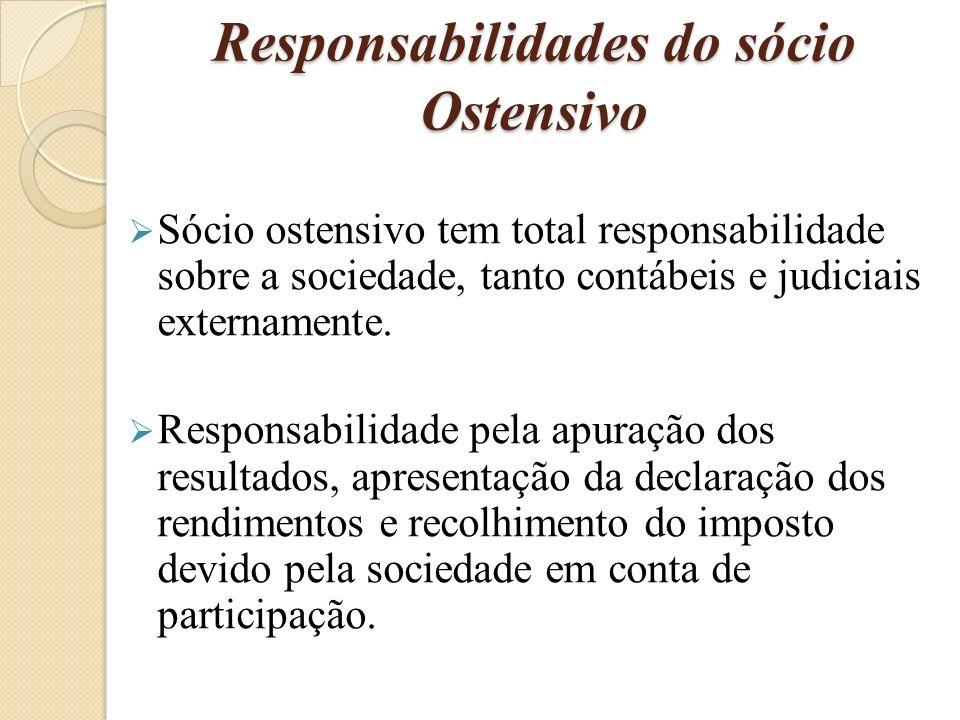 Responsabilidades do sócio Oculto Os sócios ocultos tem responsabilidades perante aos sócios ostensivo, participando assim também dos lucros e prejuízos.