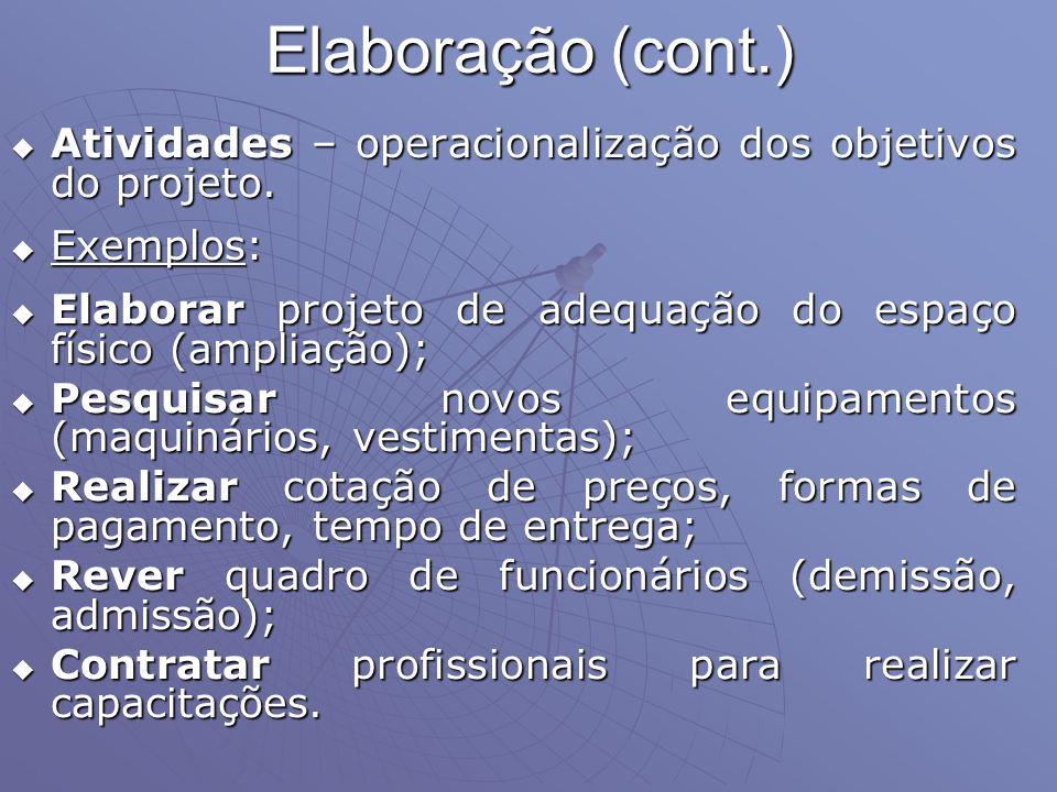 Elaboração (cont.) Atividades – operacionalização dos objetivos do projeto. Atividades – operacionalização dos objetivos do projeto. Exemplos: Exemplo