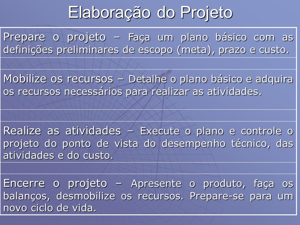 Elaboração do Projeto Prepare o projeto – Faça um plano básico com as definições preliminares de escopo (meta), prazo e custo. Mobilize os recursos –