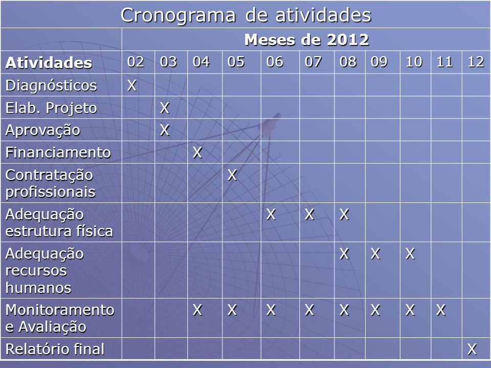Cronograma de atividades Meses de 2012 Atividades0203040506070809101112 DiagnósticosX Elab. Projeto X AprovaçãoX FinanciamentoX Contratação profission