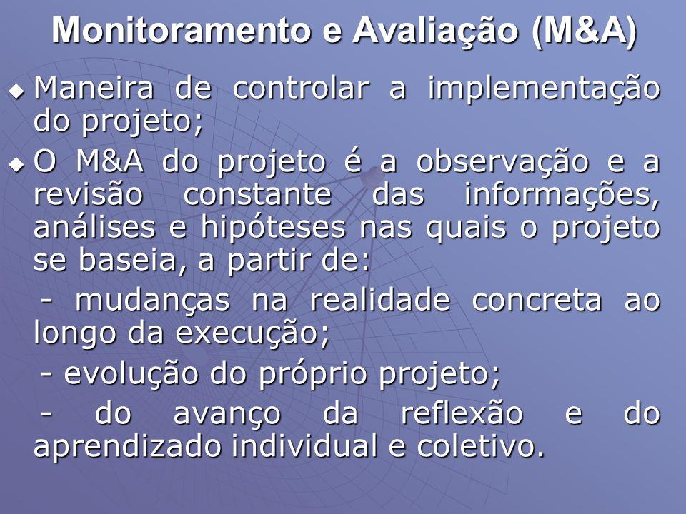 Monitoramento e Avaliação (M&A) Maneira de controlar a implementação do projeto; Maneira de controlar a implementação do projeto; O M&A do projeto é a