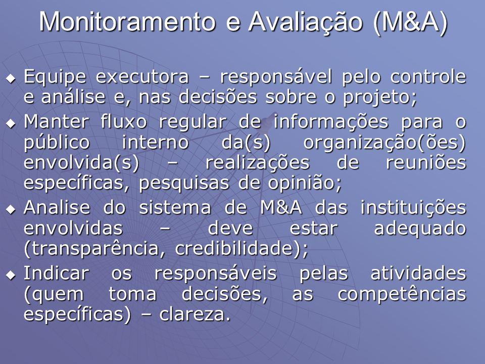 Monitoramento e Avaliação (M&A) Equipe executora – responsável pelo controle e análise e, nas decisões sobre o projeto; Equipe executora – responsável