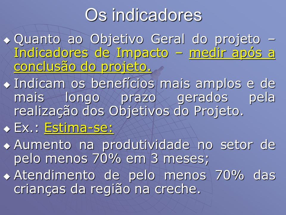 Os indicadores Quanto ao Objetivo Geral do projeto – Indicadores de Impacto – medir após a conclusão do projeto. Quanto ao Objetivo Geral do projeto –