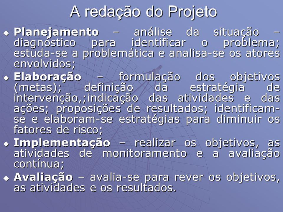 A redação do Projeto Planejamento – análise da situação – diagnóstico para identificar o problema; estuda-se a problemática e analisa-se os atores env