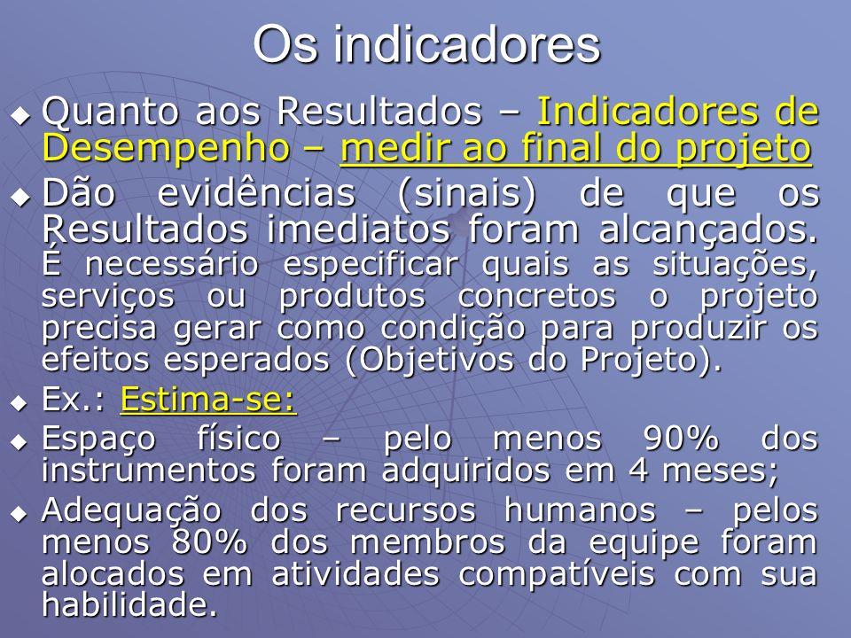 Os indicadores Quanto aos Resultados – Indicadores de Desempenho – medir ao final do projeto Quanto aos Resultados – Indicadores de Desempenho – medir