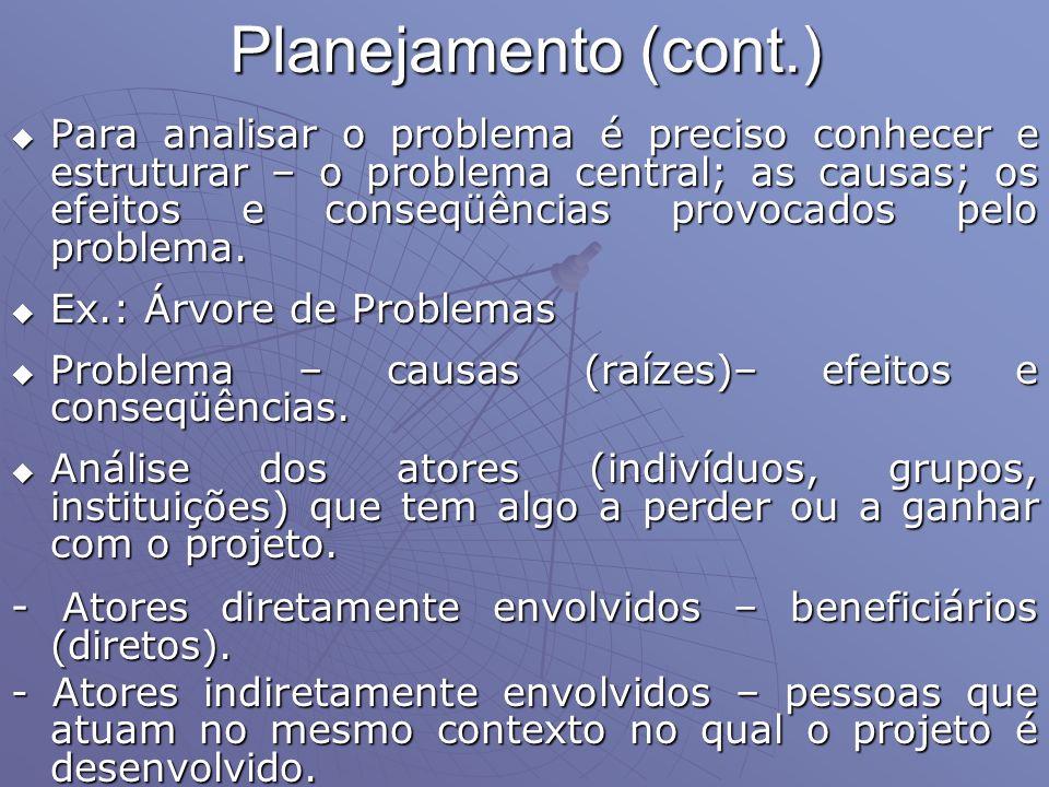 Planejamento (cont.) Para analisar o problema é preciso conhecer e estruturar – o problema central; as causas; os efeitos e conseqüências provocados p