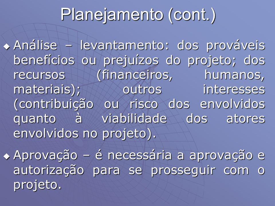 Planejamento (cont.) Análise – levantamento: dos prováveis benefícios ou prejuízos do projeto; dos recursos (financeiros, humanos, materiais); outros