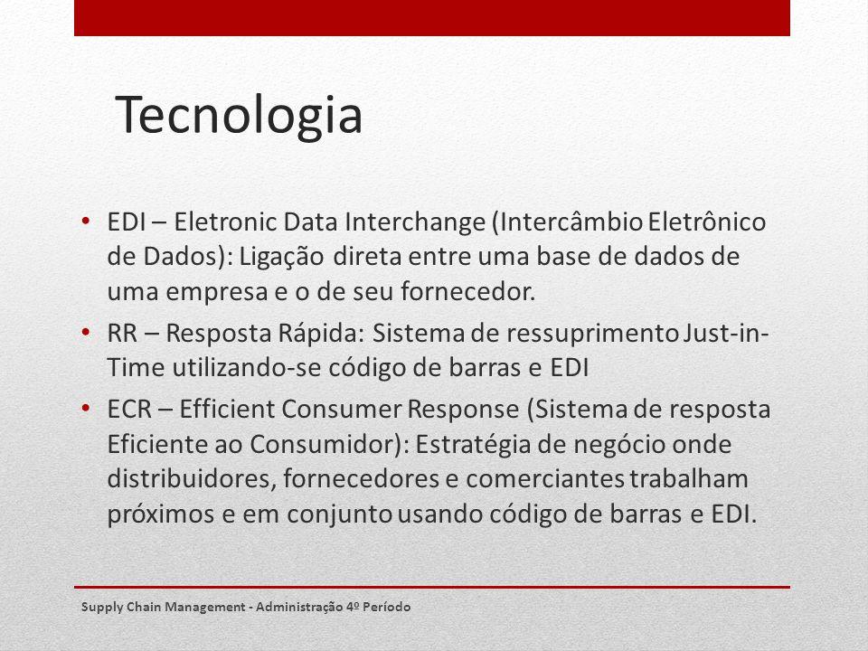 Tecnologia EDI – Eletronic Data Interchange (Intercâmbio Eletrônico de Dados): Ligação direta entre uma base de dados de uma empresa e o de seu fornec