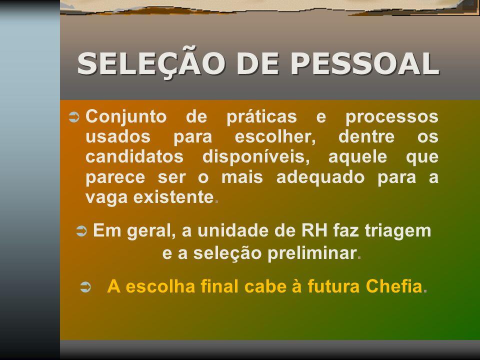SELEÇÃO DE PESSOAL Conjunto de práticas e processos usados para escolher, dentre os candidatos disponíveis, aquele que parece ser o mais adequado para