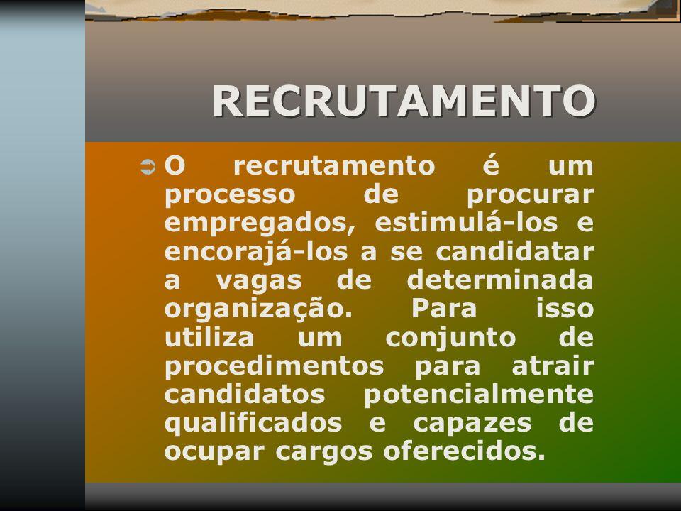 O recrutamento é um processo de procurar empregados, estimulá-los e encorajá-los a se candidatar a vagas de determinada organização. Para isso utiliza