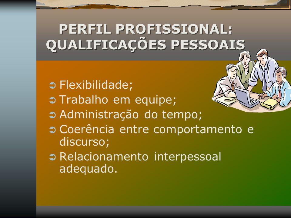 PERFIL PROFISSIONAL: QUALIFICAÇÕES PESSOAIS Flexibilidade; Trabalho em equipe; Administração do tempo; Coerência entre comportamento e discurso; Relac