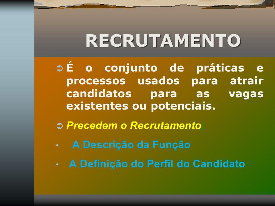RECRUTAMENTO É o conjunto de práticas e processos usados para atrair candidatos para as vagas existentes ou potenciais. Precedem o Recrutamento: A Des