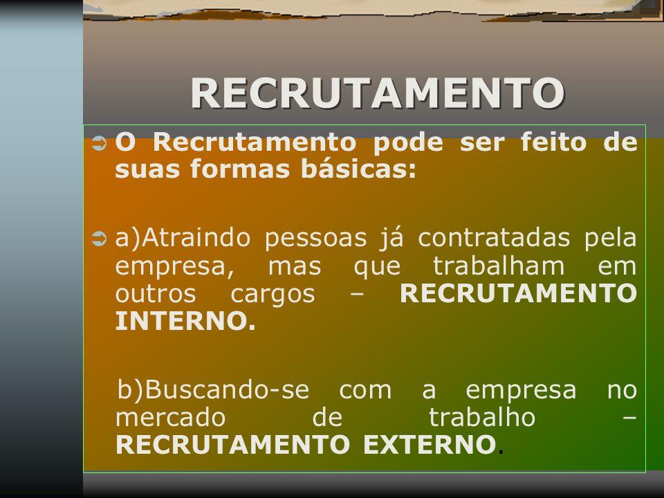 RECRUTAMENTO O Recrutamento pode ser feito de suas formas básicas: a)Atraindo pessoas já contratadas pela empresa, mas que trabalham em outros cargos