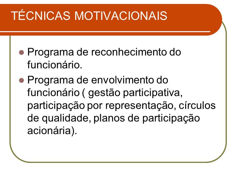 TÉCNICAS MOTIVACIONAIS Programa de reconhecimento do funcionário. Programa de envolvimento do funcionário ( gestão participativa, participação por rep