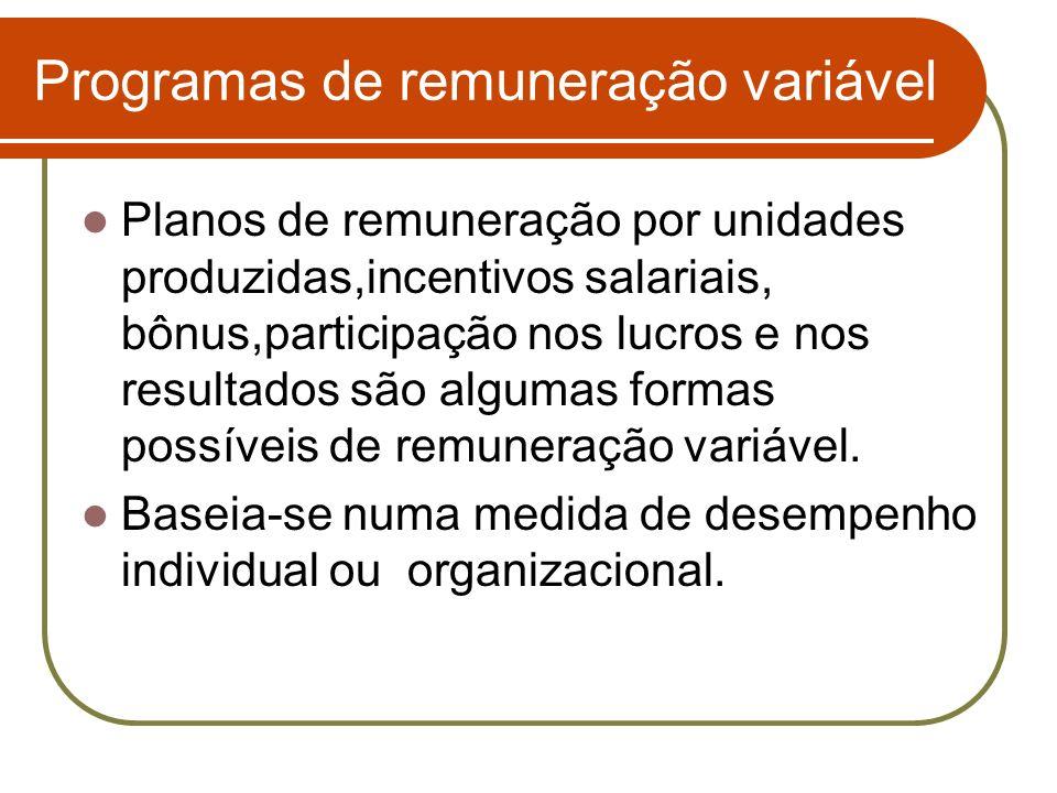 Programas de remuneração variável Planos de remuneração por unidades produzidas,incentivos salariais, bônus,participação nos lucros e nos resultados s