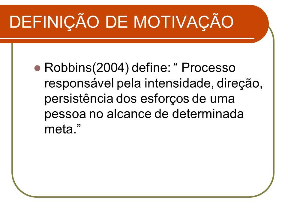 DEFINIÇÃO DE MOTIVAÇÃO Robbins(2004) define: Processo responsável pela intensidade, direção, persistência dos esforços de uma pessoa no alcance de det