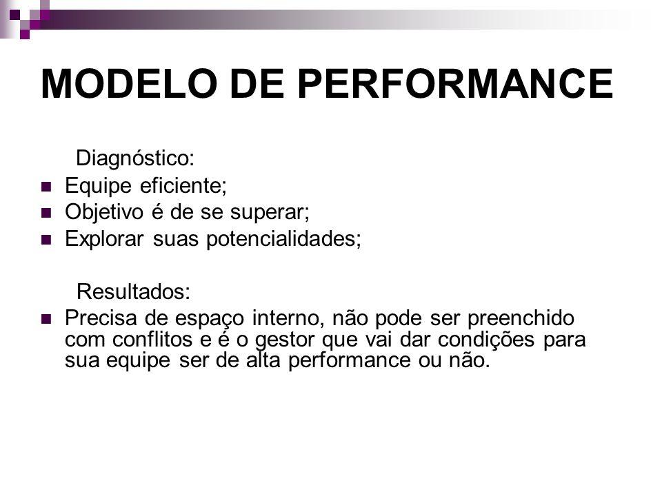 MODELO DE PERFORMANCE Diagnóstico: Equipe eficiente; Objetivo é de se superar; Explorar suas potencialidades; Resultados: Precisa de espaço interno, n