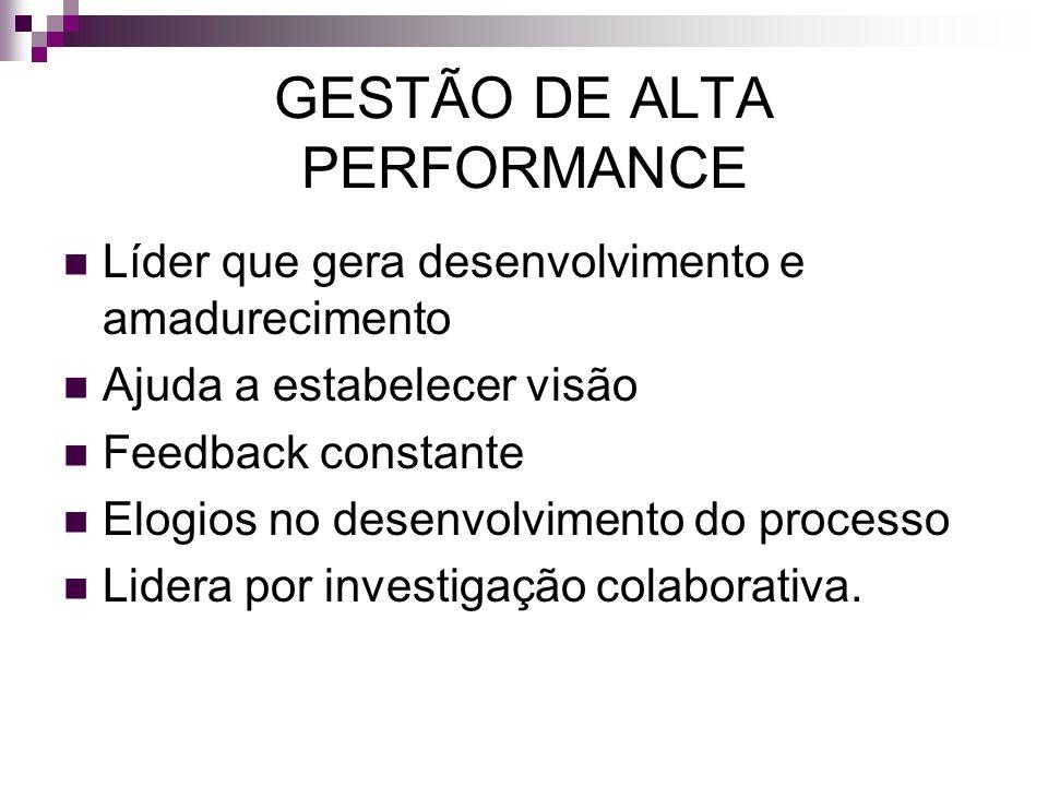 GESTÃO DE ALTA PERFORMANCE Líder que gera desenvolvimento e amadurecimento Ajuda a estabelecer visão Feedback constante Elogios no desenvolvimento do
