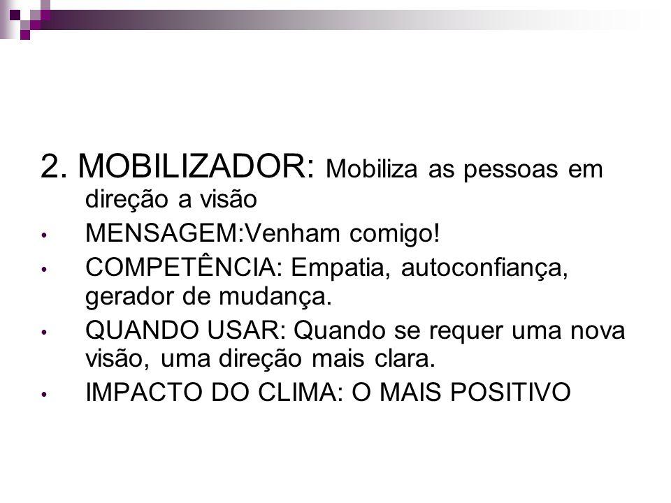 2. MOBILIZADOR: Mobiliza as pessoas em direção a visão MENSAGEM:Venham comigo! COMPETÊNCIA: Empatia, autoconfiança, gerador de mudança. QUANDO USAR: Q