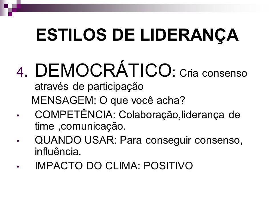 ESTILOS DE LIDERANÇA 4. DEMOCRÁTICO : Cria consenso através de participação MENSAGEM: O que você acha? COMPETÊNCIA: Colaboração,liderança de time,comu