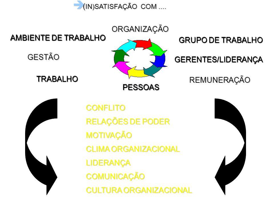 è ( IN)SATISFAÇÃO COM.... AMBIENTE DE TRABALHO REMUNERAÇÃO GERENTES/LIDERANÇA GESTÃO GRUPO DE TRABALHO TRABALHO CONFLITO RELAÇÕES DE PODER MOTIVAÇÃO C