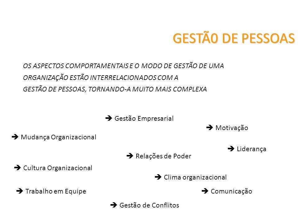 GESTÃ0 DE PESSOAS Cultura Organizacional Mudança Organizacional Clima organizacional Motivação Gestão de Conflitos Trabalho em Equipe Comunicação Lide