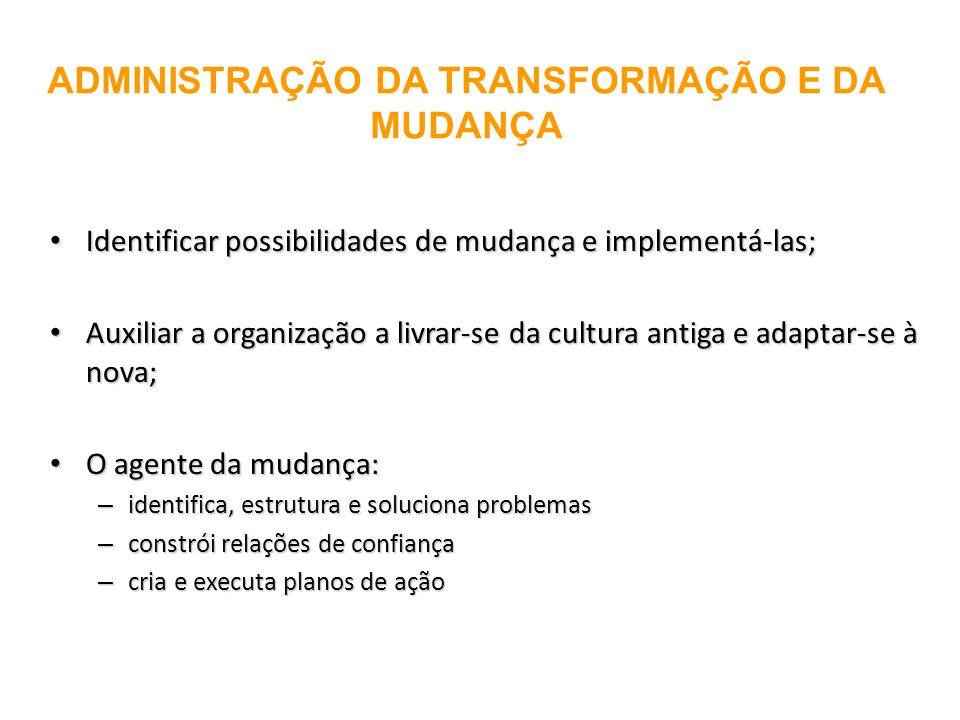 ADMINISTRAÇÃO DA TRANSFORMAÇÃO E DA MUDANÇA Identificar possibilidades de mudança e implementá-las; Identificar possibilidades de mudança e implementá