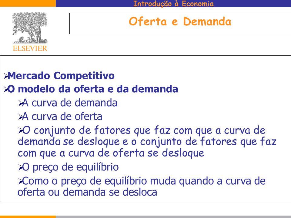 Introdução à Economia Oferta e Demanda Mercado Competitivo O modelo da oferta e da demanda A curva de demanda A curva de oferta O conjunto de fatores