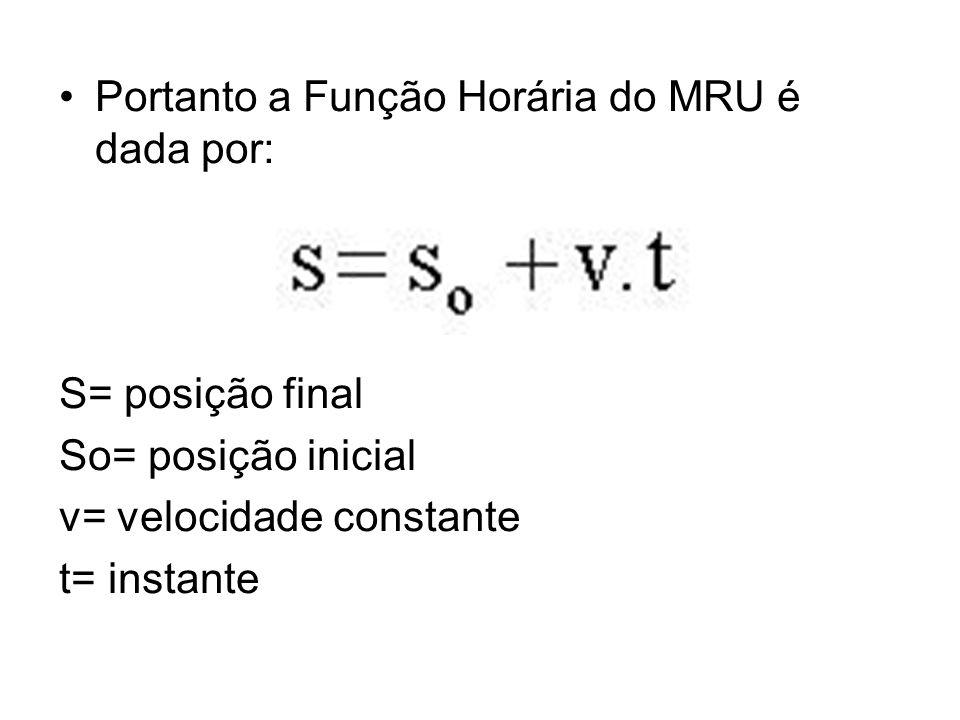 Portanto a Função Horária do MRU é dada por: S= posição final So= posição inicial v= velocidade constante t= instante