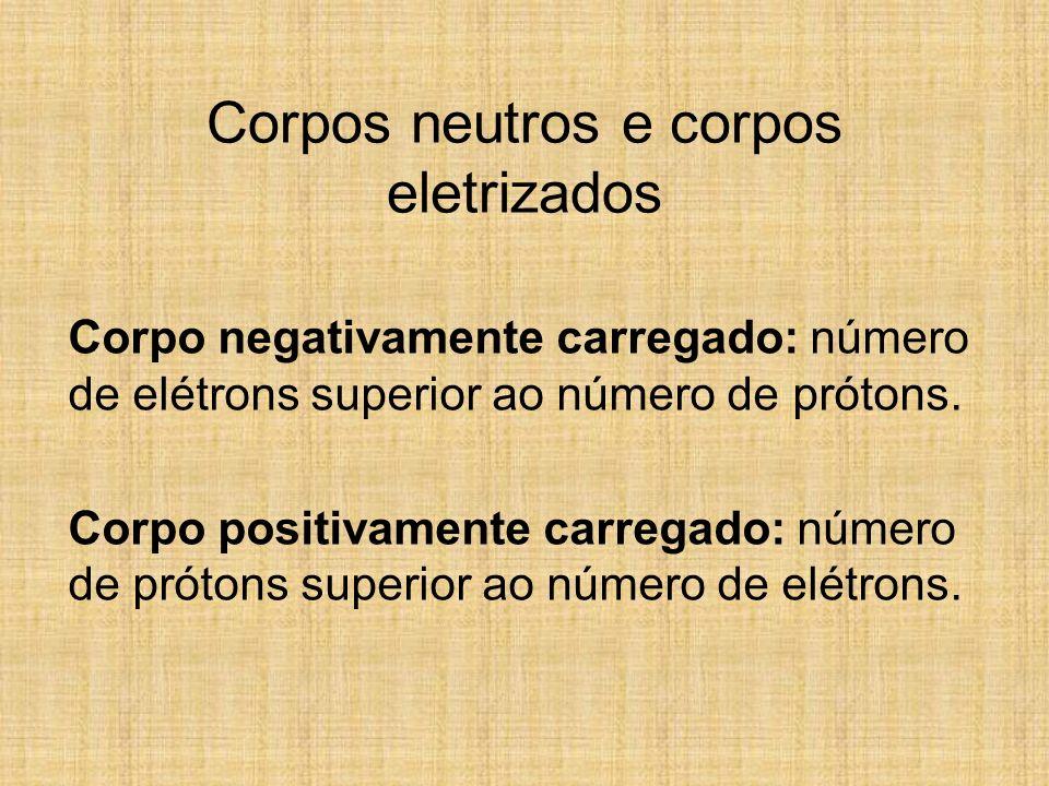 Corpos neutros e corpos eletrizados Corpo negativamente carregado: número de elétrons superior ao número de prótons. Corpo positivamente carregado: nú
