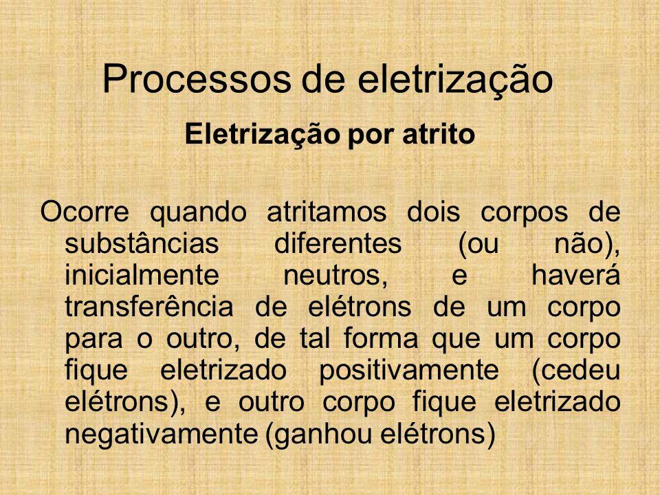 Processos de eletrização Eletrização por atrito Ocorre quando atritamos dois corpos de substâncias diferentes (ou não), inicialmente neutros, e haverá