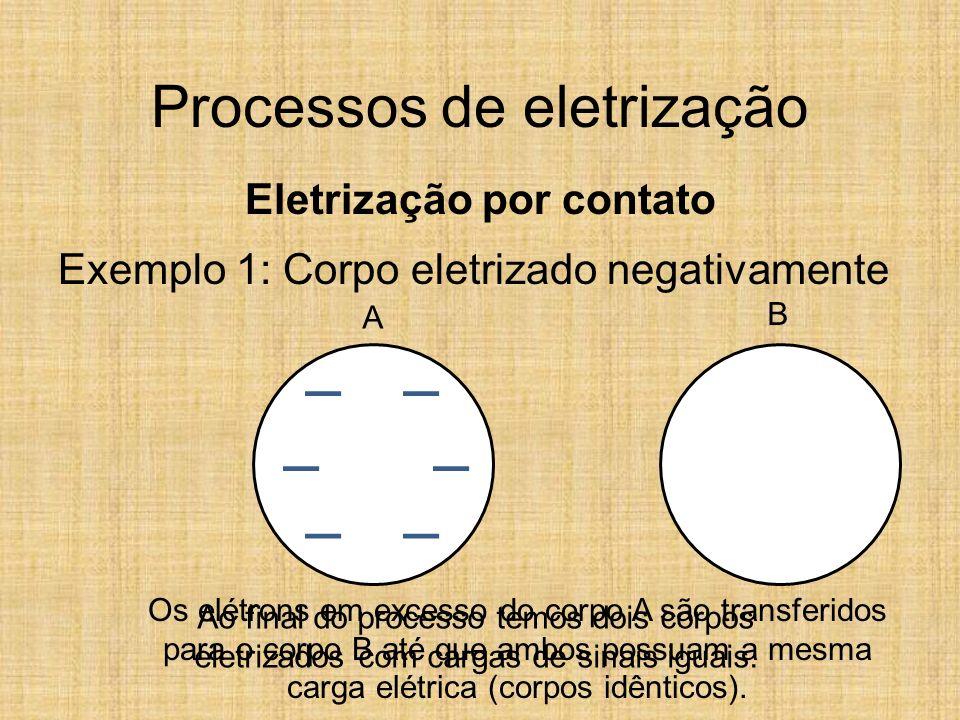 B Processos de eletrização Eletrização por contato Exemplo 1: Corpo eletrizado negativamente Os elétrons em excesso do corpo A são transferidos para o