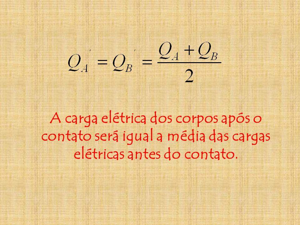 A carga elétrica dos corpos após o contato será igual a média das cargas elétricas antes do contato.