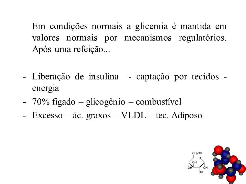 Em condições normais a glicemia é mantida em valores normais por mecanismos regulatórios. Após uma refeição... -Liberação de insulina - captação por t
