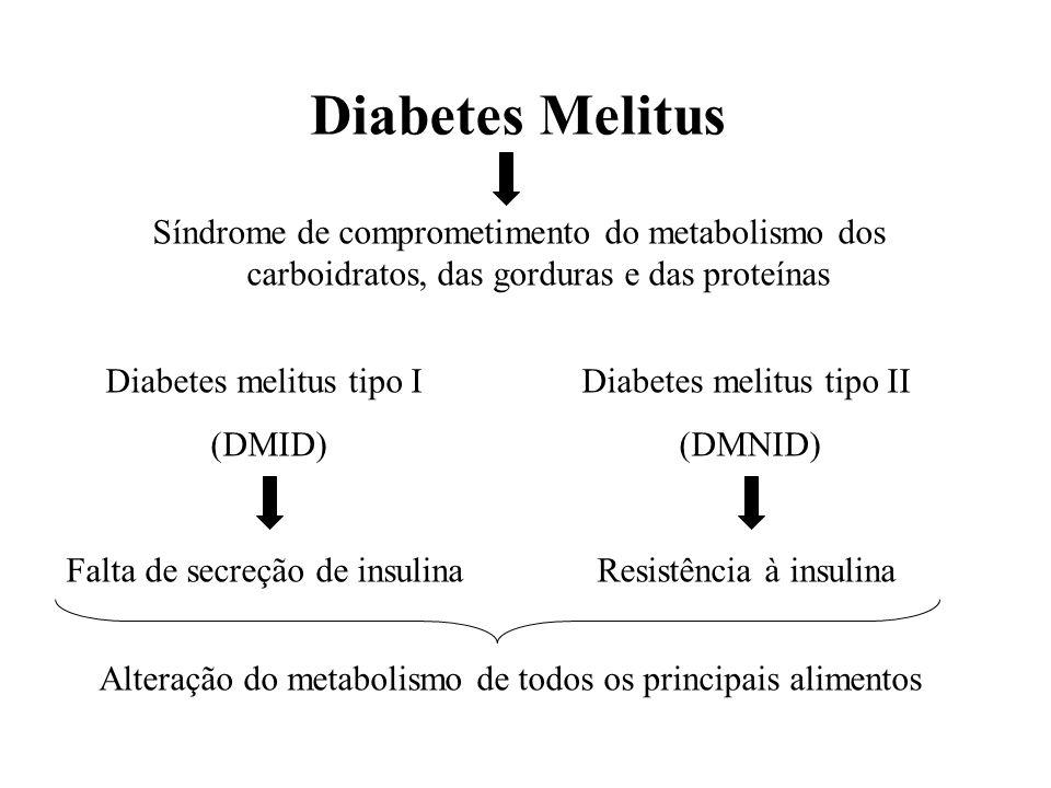 Diabetes Melitus Síndrome de comprometimento do metabolismo dos carboidratos, das gorduras e das proteínas Diabetes melitus tipo I (DMID) Falta de sec