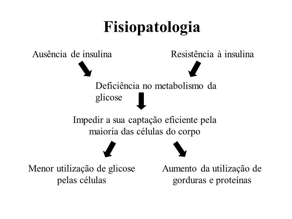 Ausência de insulinaResistência à insulina Deficiência no metabolismo da glicose Impedir a sua captação eficiente pela maioria das células do corpo Me