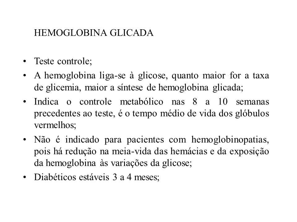 HEMOGLOBINA GLICADA Teste controle; A hemoglobina liga-se à glicose, quanto maior for a taxa de glicemia, maior a síntese de hemoglobina glicada; Indi