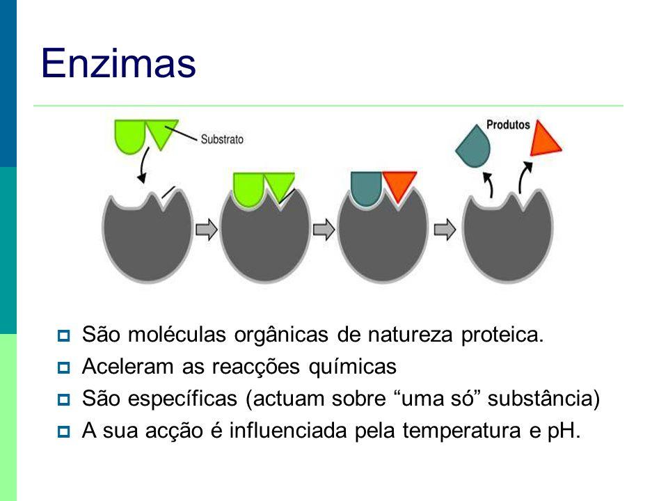 Enzimas São moléculas orgânicas de natureza proteica. Aceleram as reacções químicas São específicas (actuam sobre uma só substância) A sua acção é inf
