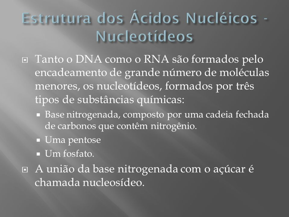 Tanto o DNA como o RNA são formados pelo encadeamento de grande número de moléculas menores, os nucleotídeos, formados por três tipos de substâncias q