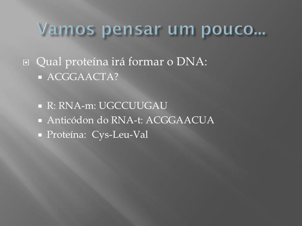 Qual proteína irá formar o DNA: ACGGAACTA? R: RNA-m: UGCCUUGAU Anticódon do RNA-t: ACGGAACUA Proteína: Cys-Leu-Val