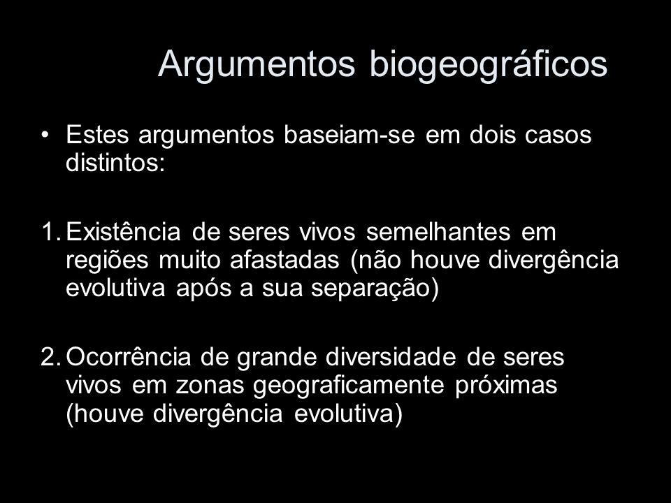 Argumentos biogeográficos Estes argumentos baseiam-se em dois casos distintos: 1.Existência de seres vivos semelhantes em regiões muito afastadas (não