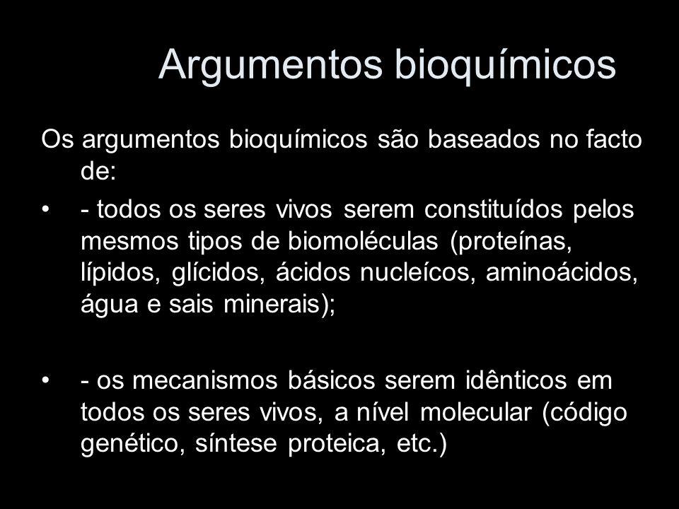 Argumentos bioquímicos Os argumentos bioquímicos são baseados no facto de: - todos os seres vivos serem constituídos pelos mesmos tipos de biomolécula