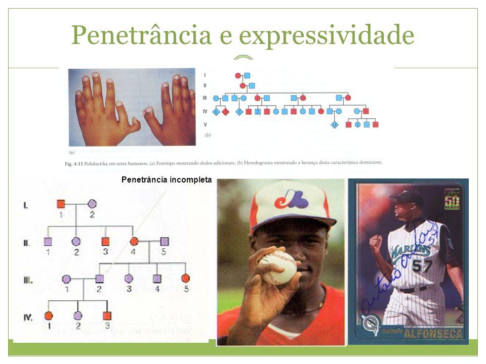 Penetrância e expressividade Penetrância incompleta